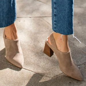 Suede mules with stacked heel
